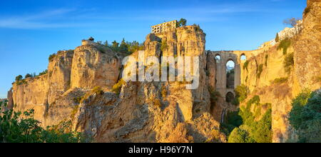 Ronda - El Tajo Gorge Canyon, Puente Nuevo Bridge, Andalusia, Spain - Stock Photo