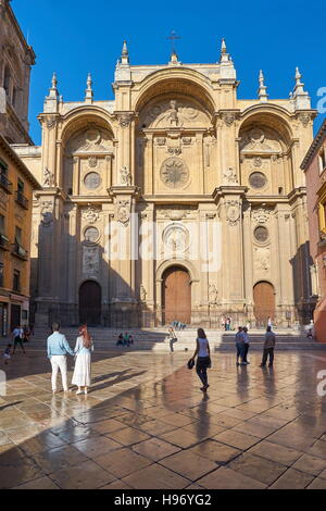 Main facade of Granada Cathedral, Granada, Andalusia, Spain - Stock Photo