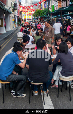 Dining out Chinatown Singapore - Stock Photo