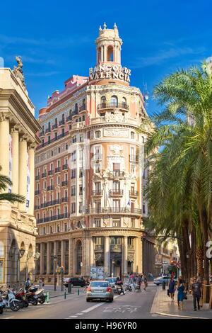 Bank of Valencia, historical building, Valencia, Spain - Stock Photo