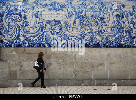Typical blue and white azulejo tiles on the side of the 18th century Carmo church, in Porto, Portugal, southern - Stock Photo