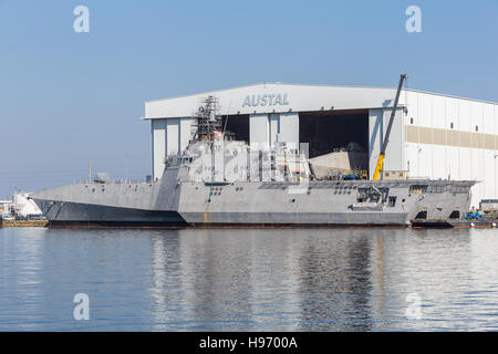 USS Manchester littoral combat ship (LCS) under construction at the Austal Shipyard on the Mobile River in Mobile, - Stock Photo