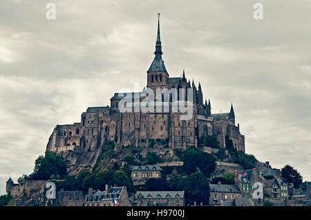 Abbey atop Le Mont Saint-Michel, near Pontorson, Normandy, France - Stock Photo