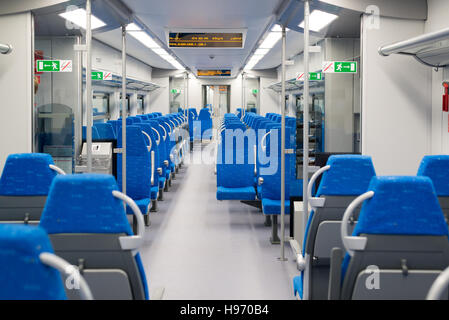 Interior high speed electric train in Moscow, Russia - Stock Photo