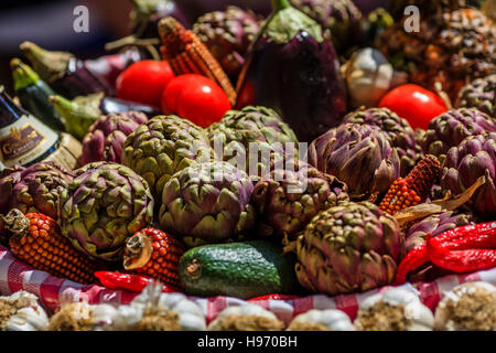 Various fresh fruits and vegetables on the market - Stock Photo