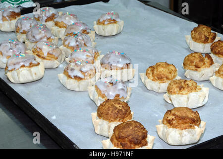 Pardulas Easter cake filled with ricotta cheese flavored with citrus zest and saffron, Siddi, Medio Campidano Province, - Stock Photo