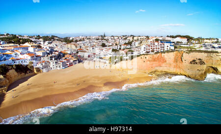 Aerial from the village Carvoeiro in the Algarve Portugal - Stock Photo
