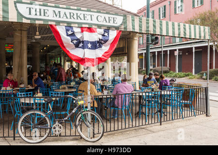 People sit for a meal at the Market Cafe in the French Market in New Orleans, Louisiana. - Stock Photo