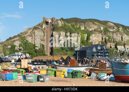 Fishing boats on the beach at Hastings, East Sussex, UK - Stock Photo
