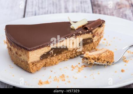 A slice of millionaire shortbread cake - Stock Photo