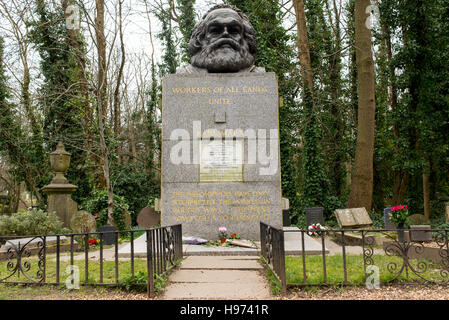 Tomb and statue of socialist philosopher and economist Karl Marx, located in the famous Highgate Cemetery in north - Stock Photo
