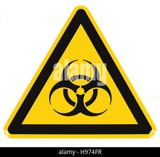 Biohazard symbol sign of biological threat alert isolated black yellow triangle label signage macro - Stock Photo