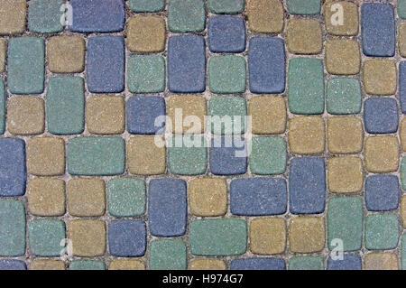 Cobblestone Texture Background Closeup, colorful green, yellow, blue, tan, grey, gray, beige ashlar - Stock Photo