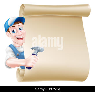 A cartoon carpenter or builder man in a cap hat and blue dungarees holding a hammer tool and peeking around a scroll - Stock Photo