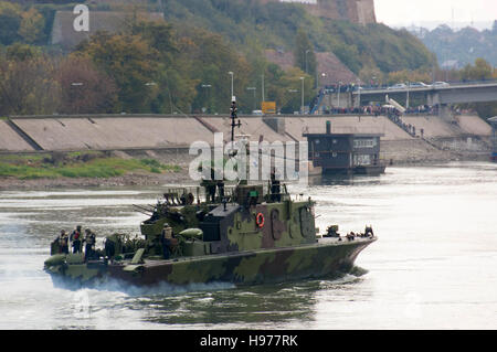 Battleships on river Danube during the military parade in Novi Sad, Serbia, 2016 - Stock Photo