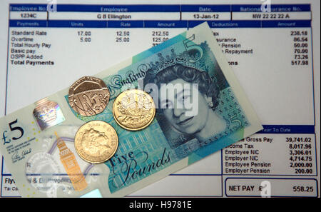 National Minimum Wage is £7.20 an hour from October 2016, London - Stock Photo