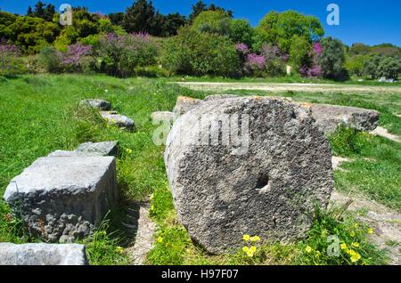 Acropolis columns ruins in Rhodes island, Greece - Stock Photo