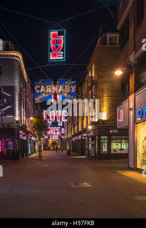 LONDON - NOVEMBER 19, 2016: Christmas lights on Carnaby Street in London - Stock Photo