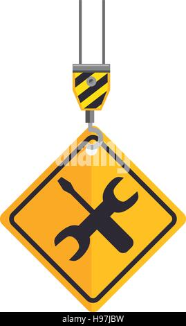 site under construction hook holds sign vector illustration eps 10 - Stock Photo