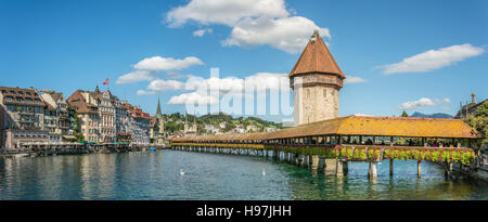Panorama of the historical Chapel Bridge, a landmark at the city of Lucerne at the Lake Lucerne in Central Switzerland - Stock Photo