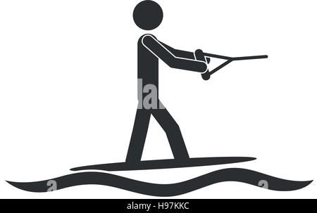 monochrome silhouette with man water skiing vector illustration - Stock Photo