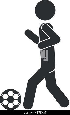 monochrome silhouette of man with soccer ball vector illustration - Stock Photo