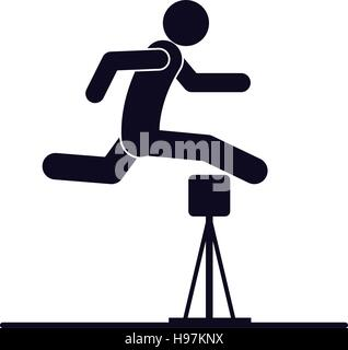 monochrome silhouette with athlete jumping hurdles vector illustration - Stock Photo