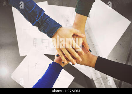 Teamwork join hands support together concept - Stock Photo