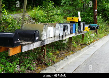 Mailboxes at the roadside in Eagle River, Alaska - Stock Photo