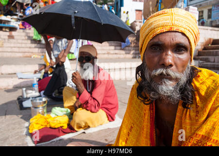Portrait of sadhus in Varanasi, Uttar Pradesh, India, Asia - Stock Photo