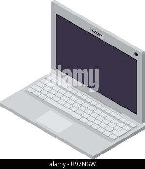 tech laptop screen with keyboard - Stock Photo