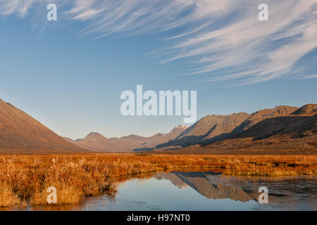 A beaver pond reflecting the fall colors of the Alaskan Range mountains - Stock Photo