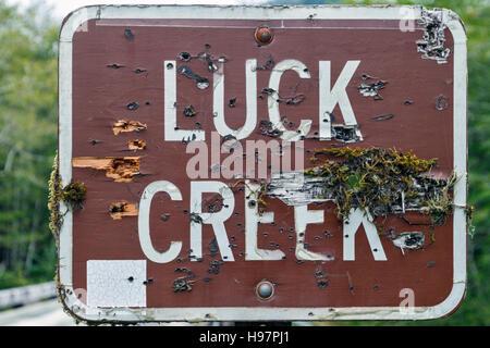 'Luck Creek' moss-covered and bullet-ridden road sign, Alaska - Stock Photo