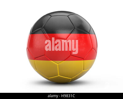 Soccer ball Germany flag on a white background. 3D illustration. - Stock Photo