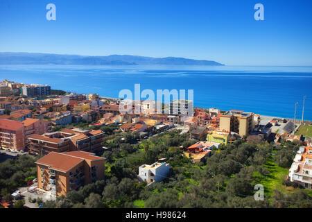 Sea from Millazzo castle. Messina, Sicily - Stock Photo