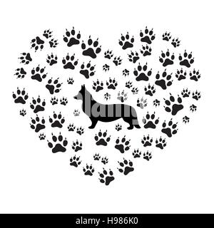 Nice picture of Welsh Corgi Pembroke silhouette on a background of dog tracks in the form of heart on a white background. - Stock Photo