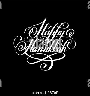 Happy Hanukkah handwritten lettering inscription to jewish holid - Stock Photo