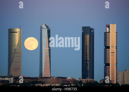 Madrid, Spain financial district skyline with full moon - Stock Photo