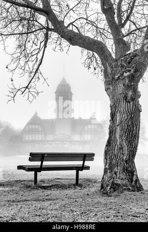 Assiniboine Park in fog, Winnipeg, Manitoba, Canada. - Stock Photo