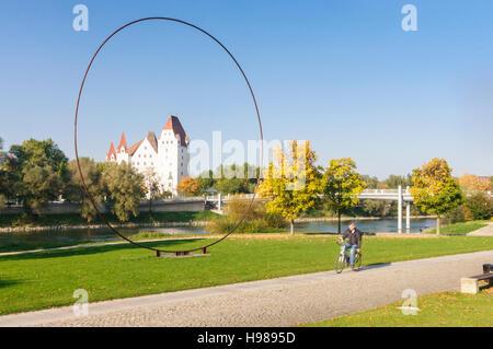 Ingolstadt: Danube and New Palace (Bavarian Army Museum), Oberbayern, Upper Bavaria, Bayern, Bavaria, Germany - Stock Photo