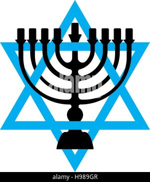 Menorah for Hanukkah, Vector illustration. Religion icon. Silhouette Flat style - Stock Photo