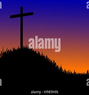 Vector silhouette of a cross on top of a mountain at sunset. - Stock Photo