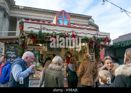 Food stall on the Liverpool Christmas market, Merseyside, UK - Stock Photo
