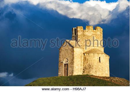 Stone church of St. Nicholas, Crkva Svetog Nikole, 12th century, Nin, Zadar County, Dalmatia, Croatia - Stock Photo