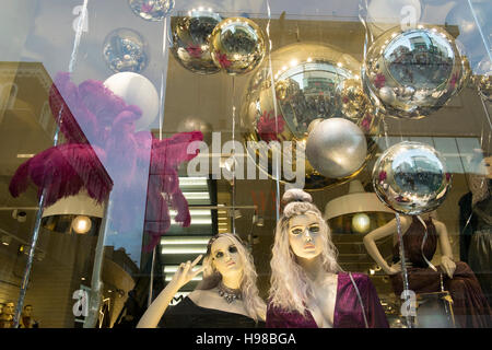 Christmas shop windows in Liverpool city centre, Merseyside, UK - Stock Photo