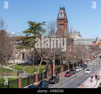 Elevated view of a corner of Harvard University campus with the tower of Memorial Hall in the background in Cambridge, - Stock Photo