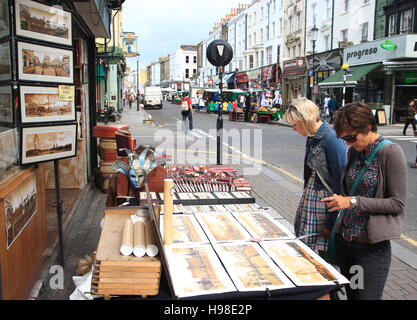 Portobello Road, street market, flea market, London, United Kingdom, Europe - Stock Photo