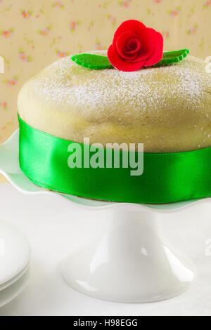 Swedish princess cake, marzipan birthday cake. - Stock Photo
