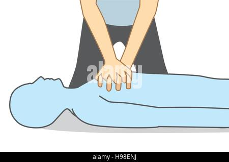 Illustration about First aid for Heart attack people. - Stock Photo