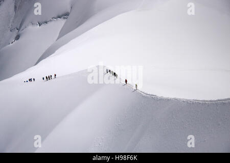 Bergsteiger, Mont Blanc-Massiv, Chamonix, Frankreich. - Stock Photo